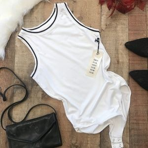 Nation Ltd. White Bodysuit XS Stripe Trim Mila